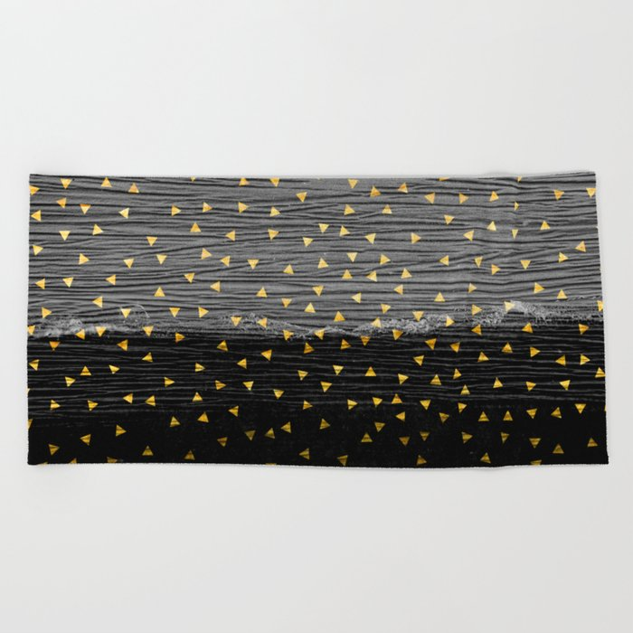 Charcoal Slate Confetti Beach Towel