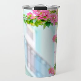 Colonial Havana Architecture with Pink Bougainvillea Travel Mug