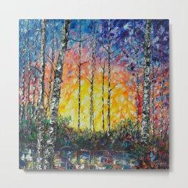 Morning Breaks - Sunrise Palette Knife  Metal Print