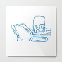 Mechanical Digger Mono Line Metal Print