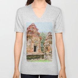 Cambodian Temple near Siem Reap Unisex V-Neck