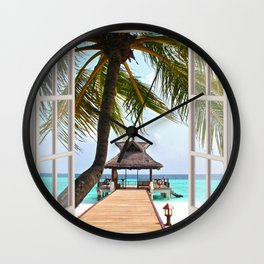 Paradise Beach | OPEN WINDOW ART Wall Clock