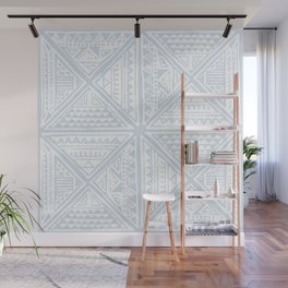 Simply Tribal Tile in Sky Blue on Lunar Gray Wall Mural