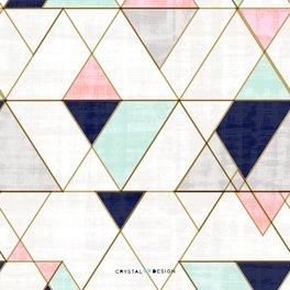Notebook - Mod Triangles - Navy Blush Mint - Crystal Walen