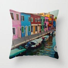 Burano Island II Throw Pillow