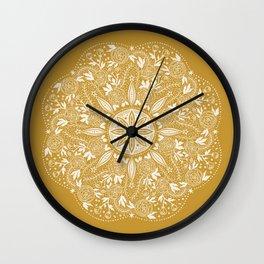 NIGHT FLORAL MUSTARD MANDALA Wall Clock
