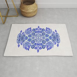 Delft blue Bohemian floral watercolor pattern in classic blue and cream Rug