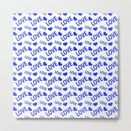 Love Heart Blue Metal Print