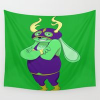 jackalope Wall Tapestries featuring Jackie the Luchador Jackalope by Michelle Rakar
