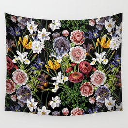 Vintage & Shabby Chic - Lush baroque flower pattern Wall Tapestry