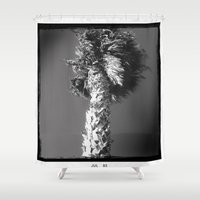 palm tree Shower Curtains featuring palm tree by spysessionz
