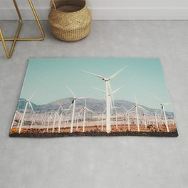 Wind turbine in the desert at Kern County California USA Rug