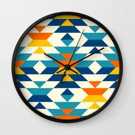 Bohemian large aztec diamonds blue pattern Wall Clock