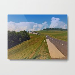 Country road and cloudy blue sky | landscape photography Metal Print