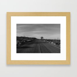 Monochrome Joshua Tree Road Framed Art Print
