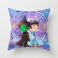 klaine Throw Pillows featuring Defying Gravity by Sunshunes
