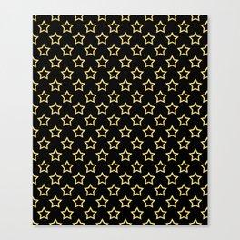 Stars. Gold and black pattern. Canvas Print