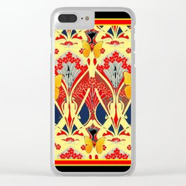 Ornate Black & Yellow Art Nouveau Butterfly Red Designs Clear iPhone Case