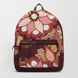 Golden Embroidery Flowers Backpack