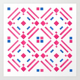 Modern hand painted geometrical pink blue watercolor Art Print