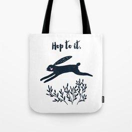 Hop to It - Black Rabbit Tote Bag