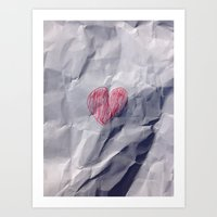 Love heart on crumpled paper. Art Print