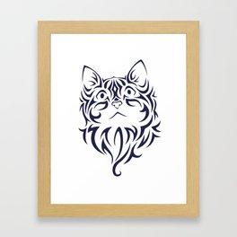 Front Facing Cat Kitten Face Stencil Framed Art Print