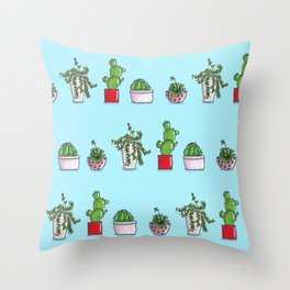 Tiny cactus & succulents in colorful pots Throw Pillow