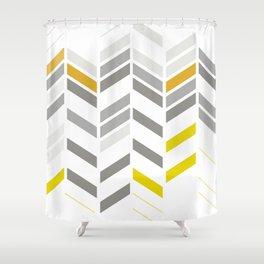 Deconstructed Chevron A – Gray / Yellow / Orange Pattern Print Shower Curtain