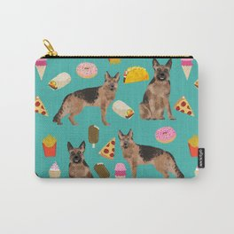 German Shepherd junk food pizza donuts ice cream burrito funny dog art pet portrait Carry-All Pouch