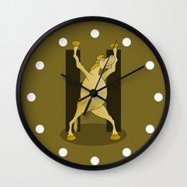 Pony Monogram Letter H Wall Clock