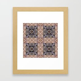 Brown lace ornament. Framed Art Print