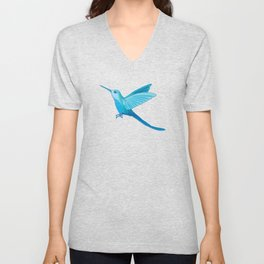 Blue hummingbird colibri Unisex V-Neck