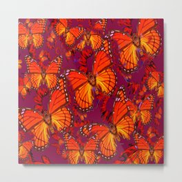 Decorative Orange Monarch Butterflies Patterns Metal Print