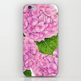 Pink Hydrangea waterolor  iPhone Skin