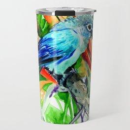 Tropics, Amazon JUngle Parrot and Tropical Foliage Jungle floral design Travel Mug