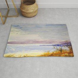 Original Watercolor Dead Sea in Winter Time Rug