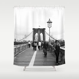 Walking the Brooklyn Bridge from Manhattan, New York Shower Curtain