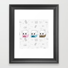 Kawaii Milk Cartons Framed Art Print