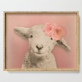 Flower Sheep Girl Portrait, Dusty Flamingo Pink Background Serving Tray