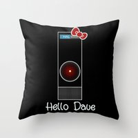 dave matthews Throw Pillows featuring Hello Dave by JoeyJojosWackyTrip
