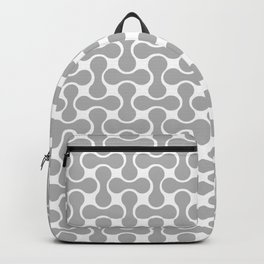 Geometric, Retro, Pattern, Gray and White Backpack