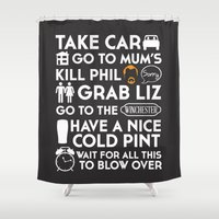 shaun of the dead Shower Curtains featuring SHAUN OF THE DEAD THE PLAN WHITE by thischarmingfan