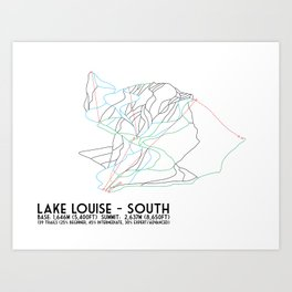 Lake Louise, Alberta, Canada - South Face - Minimalist Trail Map Art Print