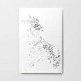 The Woman in the Bird Mask Metal Print