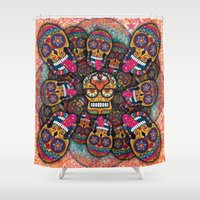 sugar skulls Shower Curtains featuring Crazy Sugar Skulls by Spooky Dooky