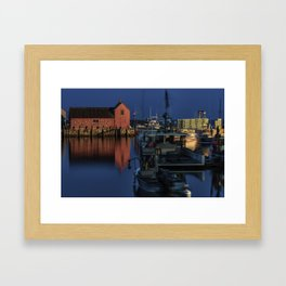 Moonlit Rockport Harbor Framed Art Print