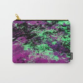 Colour Interaction II - Abstract purple, green and black textured, mixed media art Carry-All Pouch