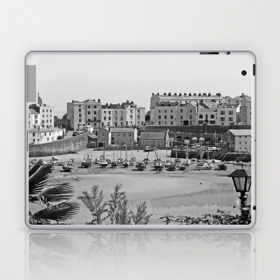 Tenby Harbour. Black+White. Reflection. Laptop & iPad Skin