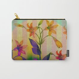 Tiger Lilies on Stripes Carry-All Pouch